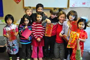 Mary Castagnozzi and her students during Chinese New Year Celebration.